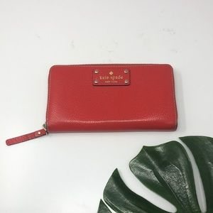 Kate Spade Red Zip Around Full Sized Wallet C1